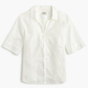 J. Crew White Short-Sleeve Button-Up Shirt
